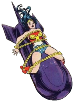 Wonder Woman strapped to a big bomb