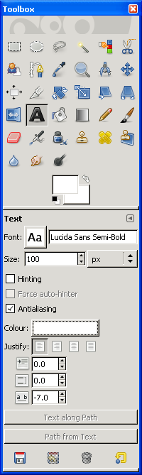 Text settings from the GIMP